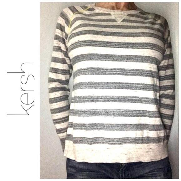 NWT KERSH Crewneck Striped Sweater Top Size L White /& Gray